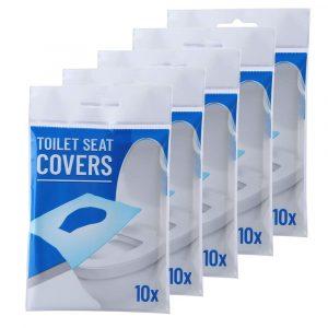 10 Stk / 1Sett engångspapper Toalettstolskydd Camping Loo wc Bakteriebeständigt skydd för resor, Campingbadrum