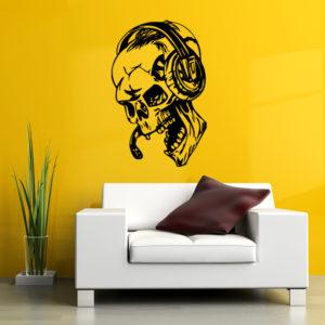 Halloween Skull Head Showcase Glasfönster Dekor Väggklistermärke Party House Heminredning Kreativ dekal DIY Väggdekor Väggkonst Klistermärke