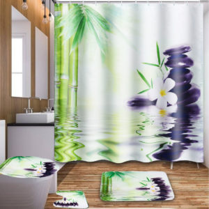180x180cm Bamboo Orchid Stone Bathroom Shower Curtain with Hooks Toilet Rug Cover