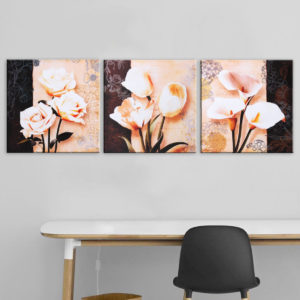 3 Pcs Unframed Canvas Print Paintings Flower Picture Home Bedroom Wall Sticker Art Decor