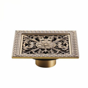 WANFAN HJ-8701T Shower Drains 12 x 12cm Square Bath Drains Strainer Hair Antique Brass Art Carved Bathroom Floor Drain Waste Grate Drain