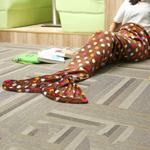 180cm Flannel Wave Point Stripe Mermaid Tail Blanket Home Office Crylic Warm Soft Sleep Bag