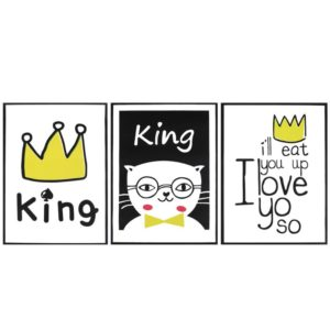 Nordic Style Door Wall Sticker Cartoon Cat King Letters PVC Removable Decals Kids Bedroom Decor