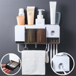 2/4 Cups Automatic Toothpaste Dispenser Wall-mounted Toothbrush Holder Towel Holder