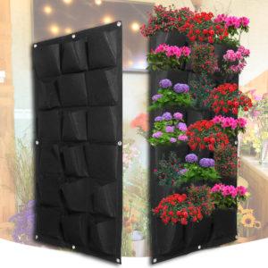 18 Pocket Planting Bag Garden Wall Vertical Flower Herb Greening Hanging Outdoor