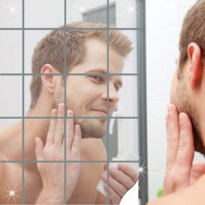 Honana BX-231 16Pcs Bathroom Removeable Self-adhesive Mosaic Tiles Mirror Wall Stickers Home Decor