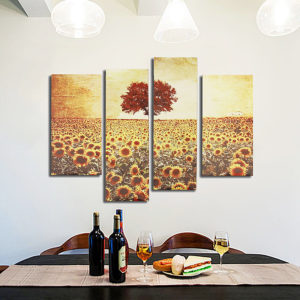 4PCS Frameless Oil Painting Sunflower Canvas Modern Wall Art Home Decoration Paper Art
