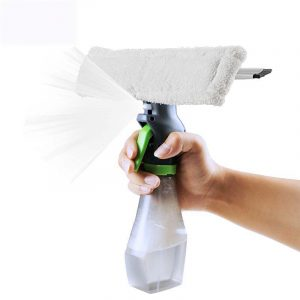 3 In 1 Spray Glass Brush Microfiber Cloth Head Silicone Scraper Window Clean Car Cleaning Tool