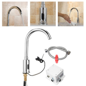 Automatic Sensor Water Tap Single Cold 360 Degree Swivel Faucet Basin Sink Mount Bathroom