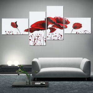 4 STK Geometrisk blomma Canvas Konsttryck Måla Vägg Bild Poster Väggdekor DIY dekorationer