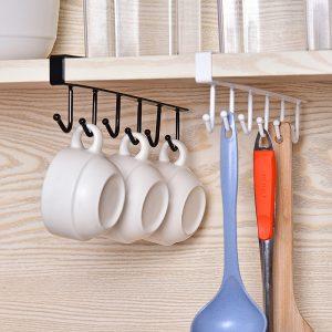Cabinet Door 6 Hook Rails Hanger Bathroom Hanger Kitchen Hooks Cabinet Door Shelf Removed Storage Rack Home Decor