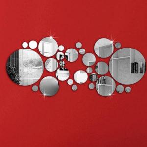 Honana DX-Y4 28Pcs Cute Silver DIY Circle Mirror Wall Stickers Home Wall Bedroom Office Decor