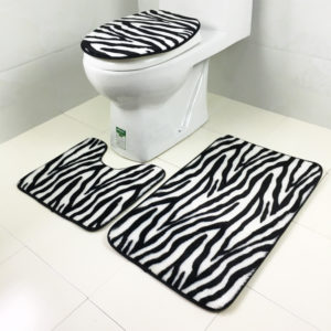 3 Sets Toilet Seat Zebra Pattern Carpet Fabric Printing Bathroom Mat Non-slip Floor Mat