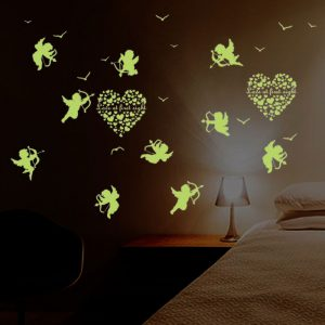 Cupid Wall Sticker Glow In The Dark Luminous Fluorescent Baby Wall Stickers Home Decor Decals