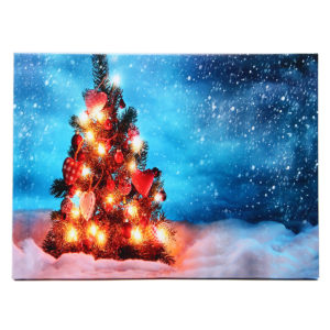 40 x 30 cm manövrerad LED Christmas Snowy Tree Xmas Canvas Print Wall Art