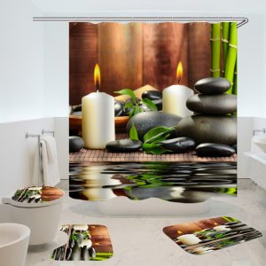 180x180CM  Waterproof Bathroom Bamboo Stone Candle Shower Curtain Toilet Cover Mat Non-Slip Rug Set