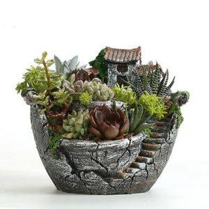 Clay Sky Garden Succulent Planter Flower Pots Cacti Moss Bonsai Plant Pot Basket Box