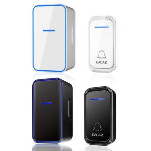 CACAZI 1 mottagare 1 sändare EU-kontakt 300M fjärrkontroll vattentät LED-indikator trådlös smart digital AC elektronisk dörrklocka