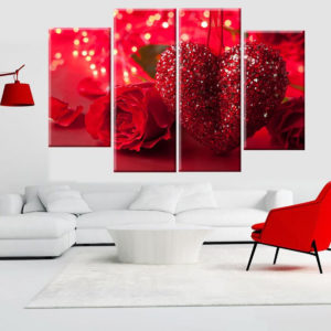 4Pcs Red Heart Love Canvas Print Art Painting Wall Picture Home Decorations