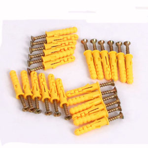 8mm x 40/60/80/100mm Yellow Croaker Plastic Expansion Bolts Expansion Tube Self-Tapping Screw for Door Window Frames Cabinet Fixing