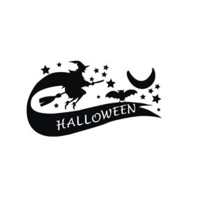 Creative PVC Halloween Witch Wall Sticker DIY PVC Halloween Quote Moon and Stars Waterproof Stickers Wall Decals Vintage Poster Background Decorative Removable Wallpapers