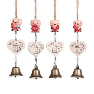4Pcs Cute Pig LOVE Letter Mini Wind Chimes Bell Home Yard Garden Hanging Door Decor