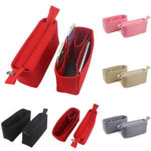 2Pcs Felt Insert Organizer Bag Handbag Holder Multi Pocket Purse Cosmetic Zipper