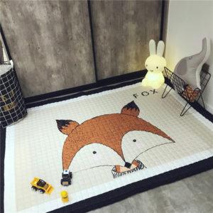 145 x 195 cm dekoration hemlagad tecknad djur barnrum matta räv baby lek matta lapptäcke picknick anti slip slip mattor
