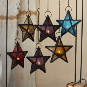 Glass Pentagram European Style Iron Art Hanging Candle Holders Colorful Star Home Decor Light