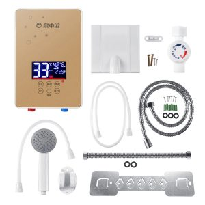3s Instantly Hot 7000W 220V Electric Hot Water Heating Tankless Instantly Boiler Bathroom Shower Set Thermostat Safe Intelligent Automatically with Pipe