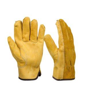 1 Par läderhandskar Arbetsskyddshandskar Säkerhet Trädgårdsarbetshandskar Bär säkerhetsverktyg
