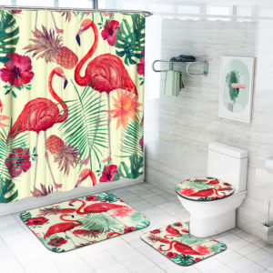 1/3/4Pcs Flamingo Waterproof Shower Curtain Toilet Cover Mat Bathroom Set Non-Slip Rug Kit