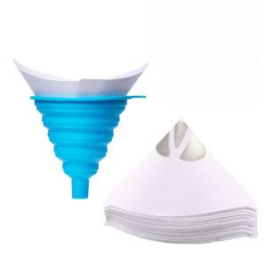 100 st engångspappersfilter med 1 st silikonfilter vattenfilter