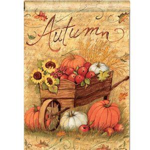 """12""""x18'' Autumn Pumpkin Cart Garden Flags Fall Sunflower Leaves Mini Banner Decorations"""