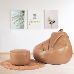 PU Leather Bean Bag Cover Lazy Sofa Couch Bean Bag High-end Version 3 Color Handle Easy To Move