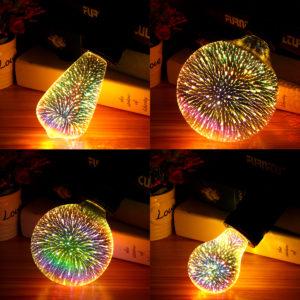 E27 6W Färgglad 3D-julferie LED Fyrverkeri Ljus dekorativ lampa LED-lampa