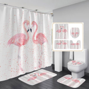 1/3/4Pcs 3D Flamingo Waterproof Shower Curtain Waterproof Toilet Cover Non-slip Mat 3pcs Toilet Bathroom Decor