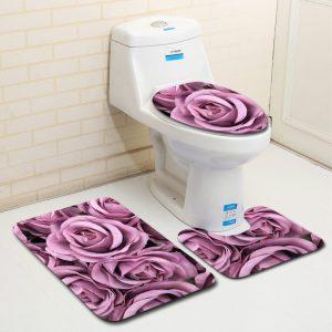 3 STK Badrum Halkskydd Matta Sockeldekor Toalettöverdrag Badmatta
