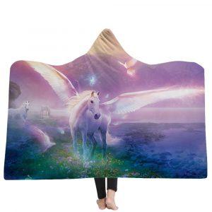 150*200cm Winter 3D Unicorns Dream Horse Plush Wearable Hooded Blankets 2 Layer