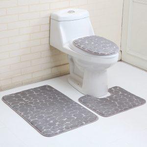 3 STK Toalettstolskydd Badrumsmattor Halkskydd Sockelplatta Toalettöverdrag Badmattuppsättning