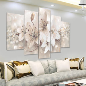 5 Panels Love Flowers Decorations Wall Art Print Pictures Canvas Wall Paintings Unframed For Home