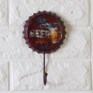 1 st 10 * 16 * 1,5 cm heta försäljning Retro öl flaskmössa vägg hängande krok kreativa personliga mjuka järn dekorer järn dörr tillbaka kläder krokar kreativa kläder butik dekorationer