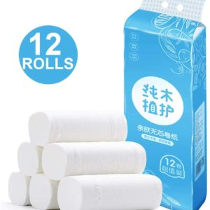 12 Rolls Standard Neutral White Toilet Paper Bathroom Tissue 4 Ply Toilet Paper Tissue Fiber Bulk Toilet Box Paper