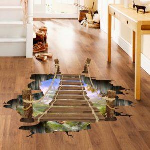 3D Wooden Bridge Living Room Bedroom Animals Floor Home Background Wall Decor Creative Stickers