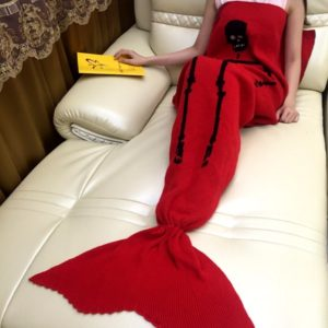 175x90cm Skull Knitted Mermaid Tail Blanket Handmade Crochet Throw Super Soft Sofa Bed Mat