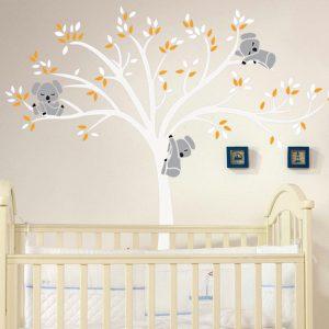Avtagbart väggmålning Koala Tree Wall Sticker Barndekaler Hemrumsskötsel
