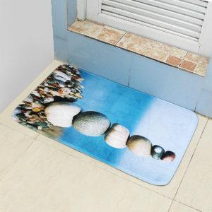 45*75cm Bathroom Shower Bath Mat Non Slip Back Carpet Mat Toilet Rug Stone Design