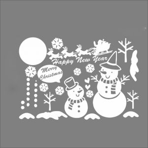 Christmas Snowman Snowflake Glass Removable Window Wall Sticker Party Decoration Festival Decals Cute White Snowflake Merry Christmas Snowman Vinyl Decals Window Indoor Children's Room Decorations