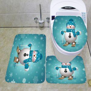3PCS Christmas Toilet Seat Covers Bathroom Mat Bathroom Carpet Set Absorbent Bath Rugs