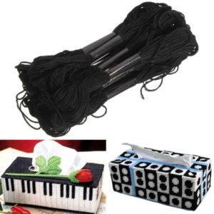 12st. Svart polyester bomullskorsstygn brodyrtråd DIY-sömnadstillbehör